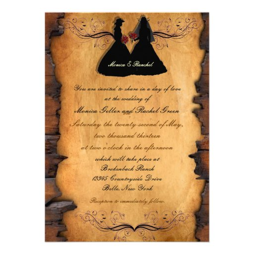 Cowgirl Brides Custom Lesbian Wedding Invitations | Zazzle