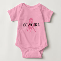 Cowgirl Bronc Horse (pink horse version) Baby Bodysuit