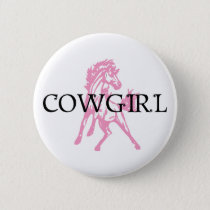 Cowgirl Bronc Horse (pink horse version) Pinback Button