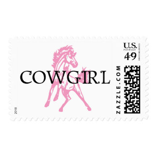 Cowgirl Bronc Horse (pink horse version) Stamp