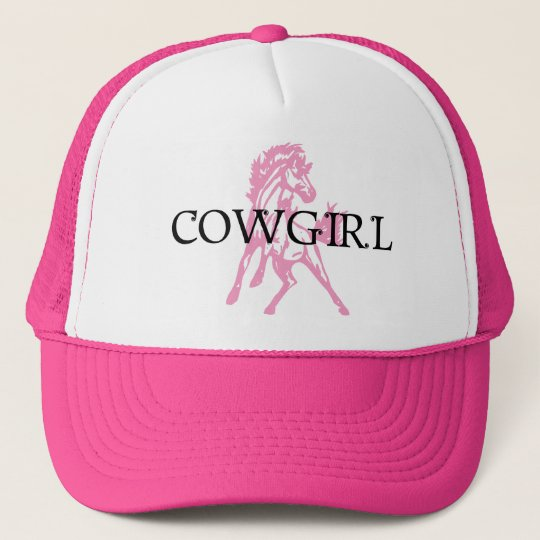 Cowgirl Bronc Horse (pink horse version) Trucker Hat