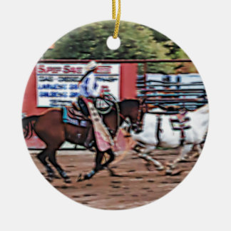 Cowgirl Cartoon Ceramic Ornament