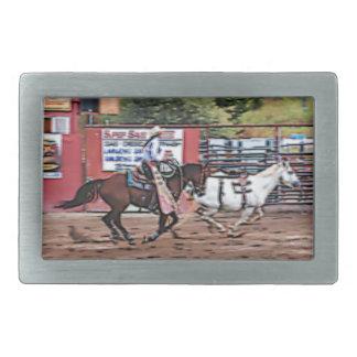 Cowgirl Cartoon Rectangular Belt Buckle