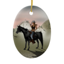 Cowgirl Ceramic Ornament