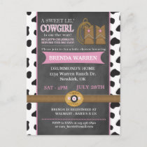 Cowgirl Chalkboard Baby Shower Invitation Postcard