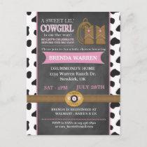 Cowgirl Chalkboard Baby Shower Invitation Postcard