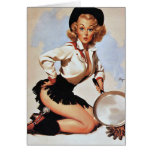 Cowgirl Cooking Pin Up Card