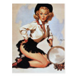 Cowgirl Cooking Pin Up Postcard