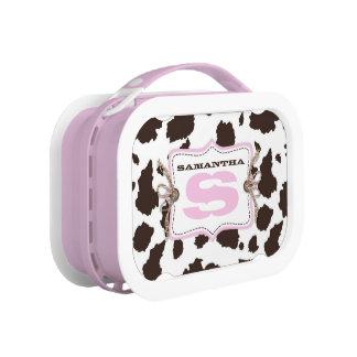 Cowgirl Cow Print Monogram Lunch Box