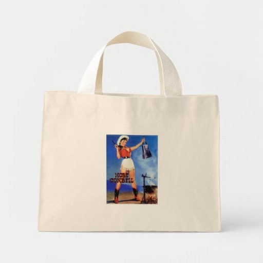 cowgirl cowbell tote bags