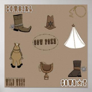 Cowgirl Cowboy Fun Western Gear Art Print Poster