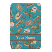 Cowgirl Cowboy Hat Boots Teal Name Personalized iPad Mini Cover