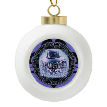 Cowgirl Cowboy Hat Purple Ceramic Ball Christmas Ornament
