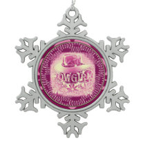Cowgirl Cowboy Hat Raspberry Pink 2 Snowflake Pewter Christmas Ornament