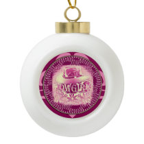 Cowgirl Cowboy Hat Raspberry Pink Ceramic Ball Christmas Ornament
