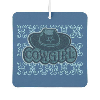 Cowgirl Cowboy Hat Two Tone Blue Air Freshener