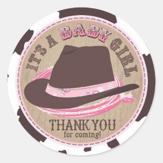 Cowgirl Cowboy Hat Western Baby Shower Classic Round Sticker