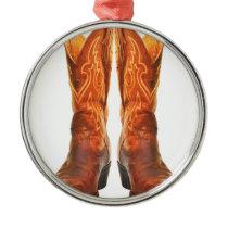 Cowgirl & Cowboy Western Boots Metal Ornament