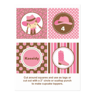 Cowgirl Cupcake Toppers Postcards