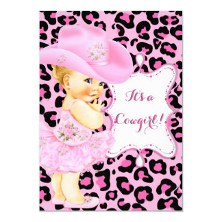 Cowgirl Cute Baby Shower Pink Leopard Girl Blonde Card