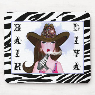 """""""Cowgirl Diva"""" Hair Stylist Mouse Pad"""