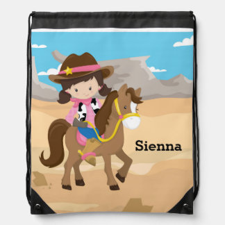 Cowgirl Drawstring Backpacks