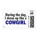 Cowgirl During The Day Postage Stamp