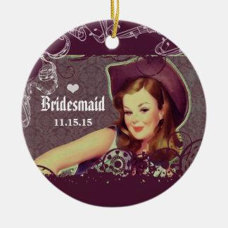 Cowgirl Eggplant Bridesmaid Christmas Ornament