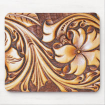 cowgirl fashion western country floral leather mouse pad