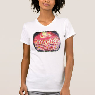 Cowgirl Flowers Raspberry Pink  (Degraded Image) 2 T-Shirt