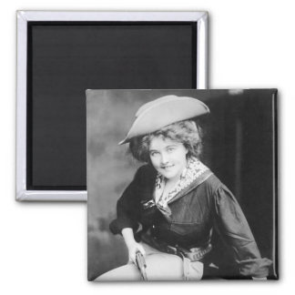 Cowgirl Gambler: 1909 2 Inch Square Magnet
