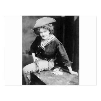 Cowgirl Gambler: 1909 Postcard