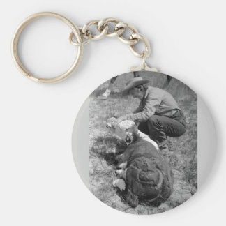 Cowgirl Giving TLC, 1930s Basic Round Button Keychain