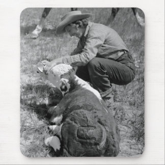 Cowgirl Giving TLC, 1930s Mouse Pad