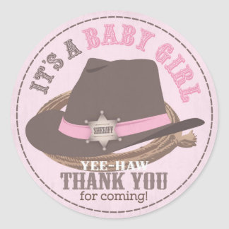 Cowgirl Hat and Rope Western Baby Shower Classic Round Sticker