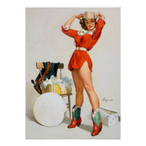 Cowgirl Hat Pin Up Poster