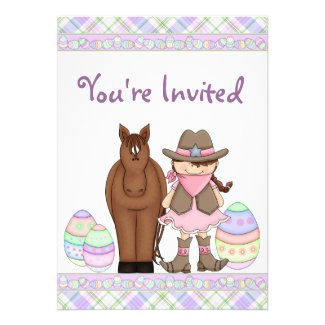 Cowgirl, Horse and Easter Eggs Birthday Invitation