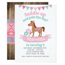 Cowgirl, Horse Birthday Invitation