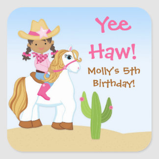 Cowgirl Horse Birthday Party Favor Sticker