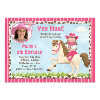 Cowgirl Horse Birthday Party Invitation