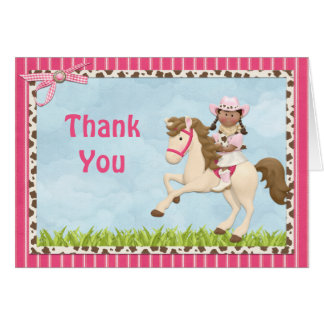 Cowgirl Horse Birthday Party Thank You Greeting Cards