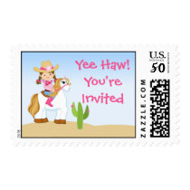 Cowgirl Horse Birthday Postage Stamp