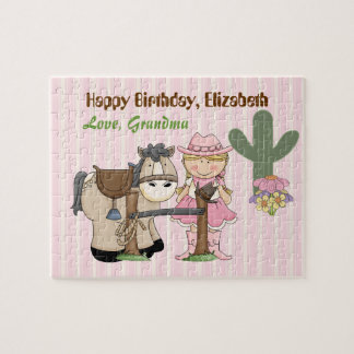 Cowgirl Horse Birthday Puzzle