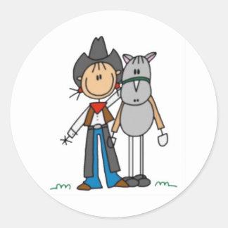 Cowgirl & Horse Stick Figure Classic Round Sticker