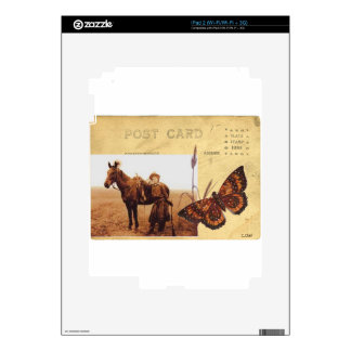 Cowgirl Horse Vintage Postcard Western Butterfly Skin For iPad 2
