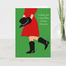 Cowgirl in Boots Country - Christmas Greeting Card