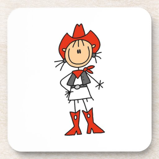 Cowgirl in Red T-shirts and Gifts Beverage Coasters