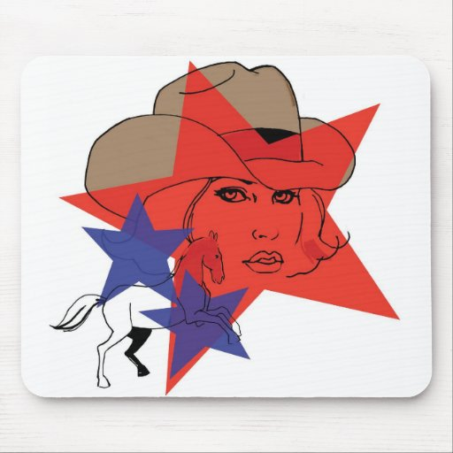 cowgirl in red white and blue mouse pad