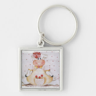 cowgirl Silver-Colored square keychain