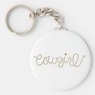 cowgirl basic round button keychain